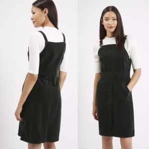 TOPSHOP Dark Forest Green Corduroy Pinafore Dress